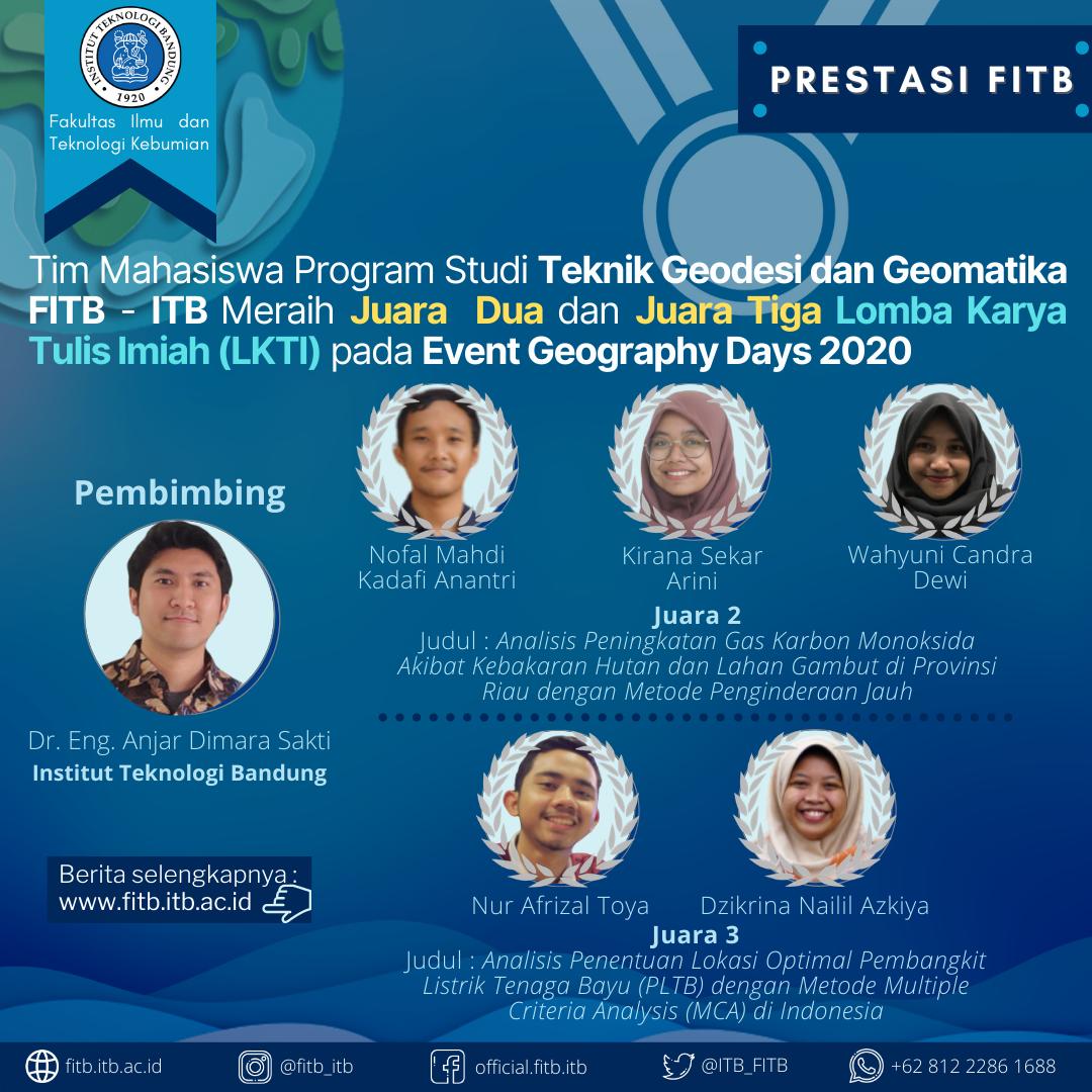 Dua Tim dari Mahasiswa Teknik Geodesi dan Geomatika Institut Teknologi Bandung Berhasil menjadi Juara Dua dan Juara Tiga Lomba Karya Tulis Ilmiah (LKTI) pada Event Geography Days 2020
