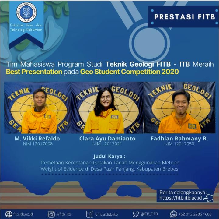 Tim Mahasiswa dari Program Studi Teknik Geologi ITB telah Meraih Penghargaan Best Presentation dalam Kegiatan The 49th IAGI Annual Convention & Exhibition 2020 yang diselenggarakan di Lombok