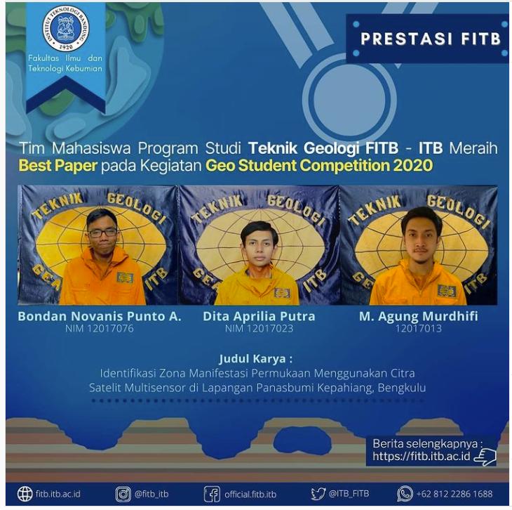 Tim Mahasiswa dari Program Studi Teknik Geologi ITB telah meraih Penghargaan Best Paper dalam Kegiatan The 49th IAGI Annual Convention & Exhibition 2020 yang diselenggarakan di Lombok