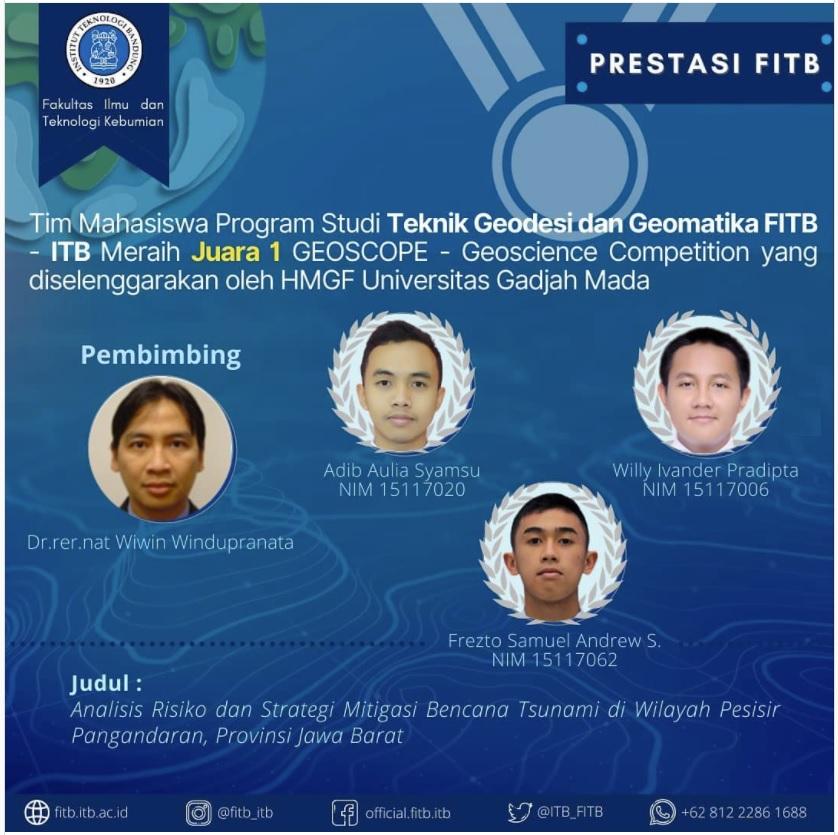 Tim Mahasiswa Program Studi Teknik Geodesi dan Geomatika FITB – ITB Meraih Juara 1 GEOSCOPE – Geoscience Competition yang diselenggarakan oleh HMGF Universitas Gadjah Mada