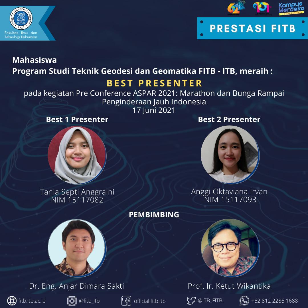 """Mahasiswa Program Studi Teknik Geodesi dan Geomatika telah meraih Best Presenter pada acara """"Pre Conference ASPAR 2021: Marathon dan Bunga Rampai Penginderaan Jauh Indonesia"""""""