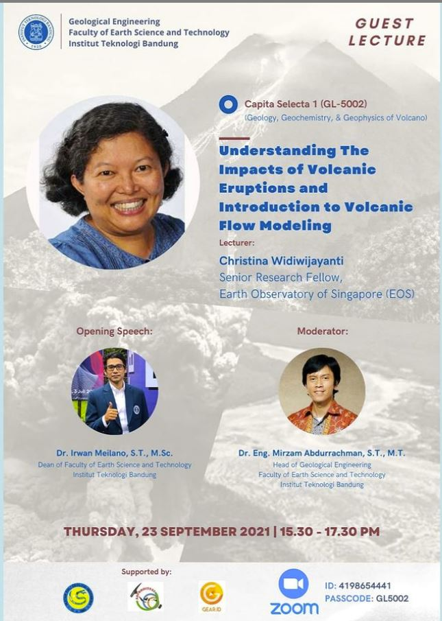 Guest Lecturer:  Christina Widiwijayanti (Senior Research Fellow, EOS) Topic: Understanding The Impacts of Volcanic Eruptions and Introduction to Volcanic Flow Modeling