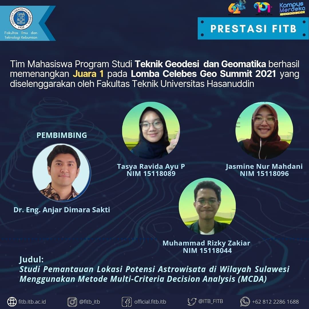 Tim Mahasiswa Program Studi Teknik Geodesi dan Geomatika FITB – ITB berhasil memenangkan Juara 1 Lomba Celebes Geo Summit 2021