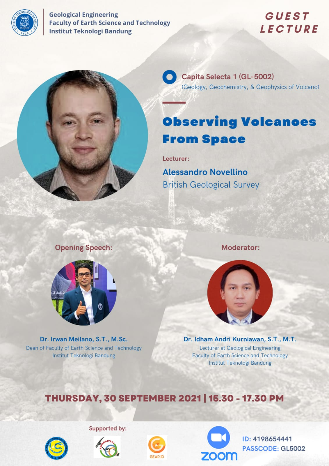 Observing Volcanoes from Space. Guest Lecturer :  Alessandro Novellino (British Geological Survey)