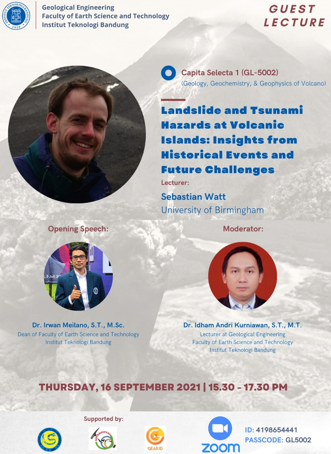"""GUEST LECTURE : Lecturer: Sebastian Watt -University of Birmingham-Topic: """"Landslide and Tsunami Hazards at Volcanic Islands: Insights from Historical Events and Future Challenges"""""""