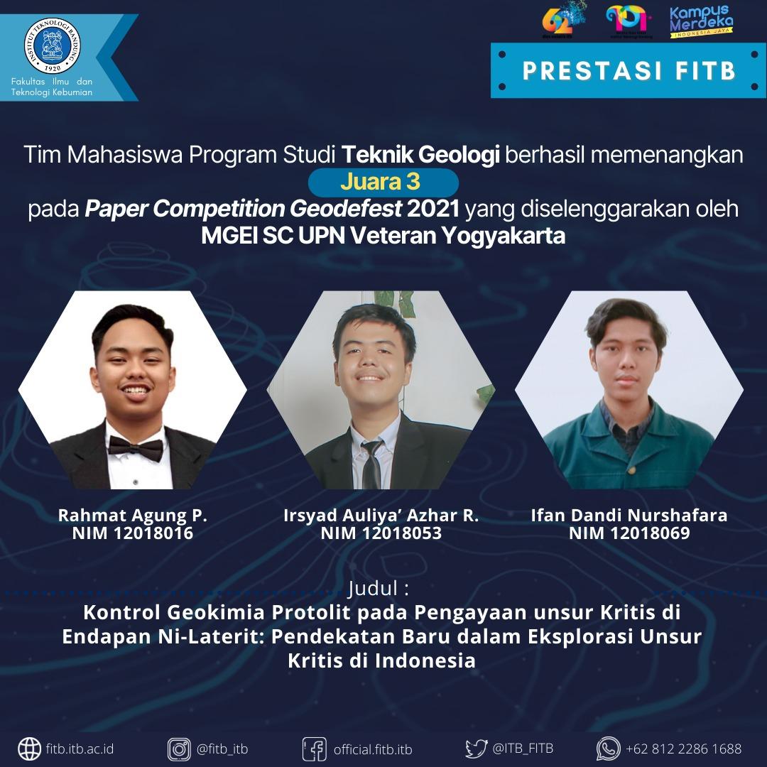 Tim Mahasiswa Program Studi Teknik Geologi Berhasil meraih 3rd Winner Paper Competition