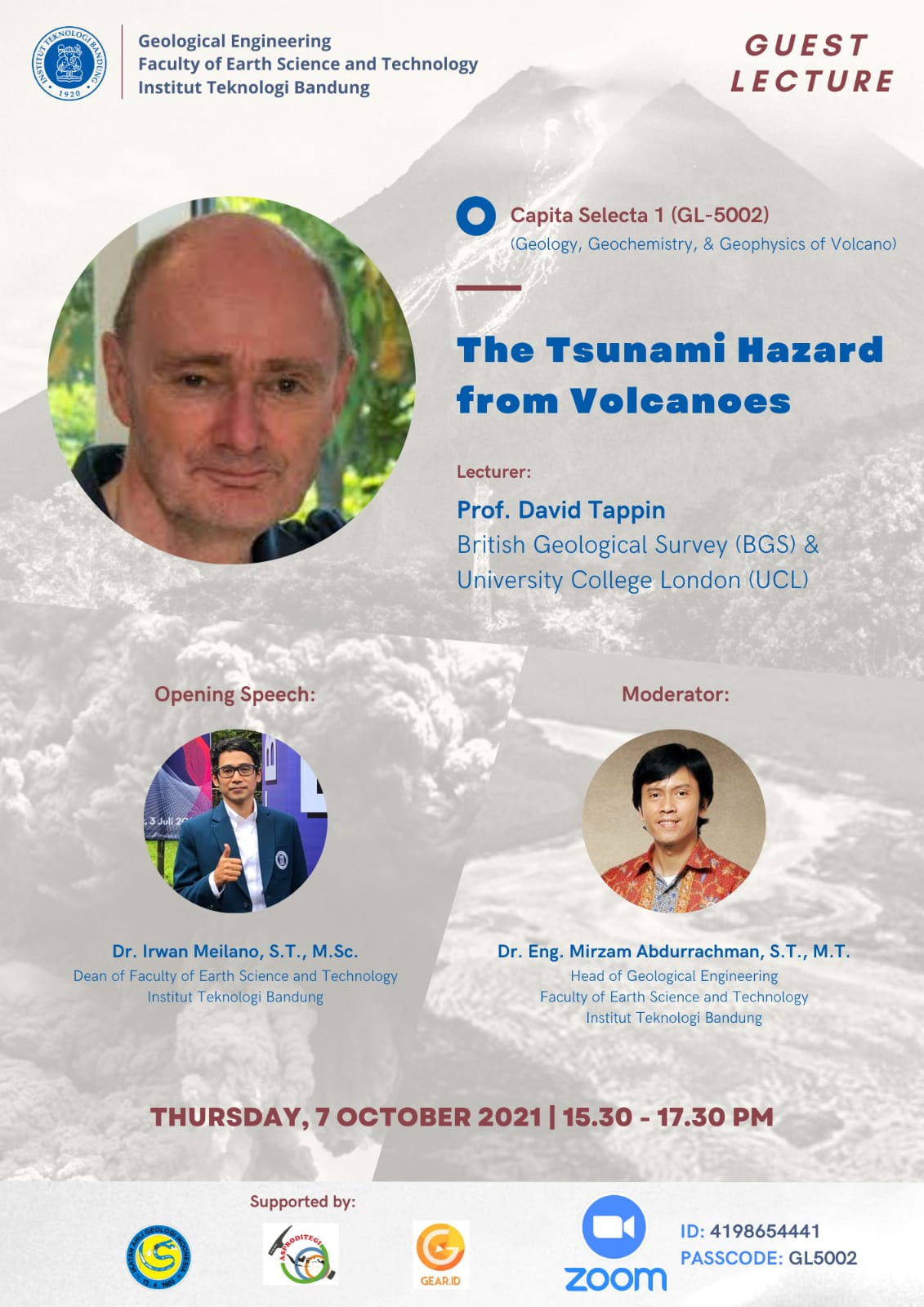 """Lecturer: Prof. David Tappin (British Geological Survey (BGS) & University College London (UCL)) Topic: """"The Tsunami Hazard from Volcanoes """""""